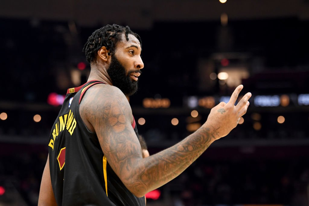 CLEVELAND, OHIO - FEBRUARY 12: Andre Drummond #3 of the Cleveland Cavaliers talks to the Atlanta Hawks bench during the second half at Rocket Mortgage Fieldhouse on February 12, 2020 in Cleveland, Ohio. The Cavaliers defeated the Hawks 129-105. NOTE TO USER: User expressly acknowledges and agrees that, by downloading and/or using this photograph, user is consenting to the terms and conditions of the Getty Images License Agreement. (Photo by Jason Miller/Getty Images)