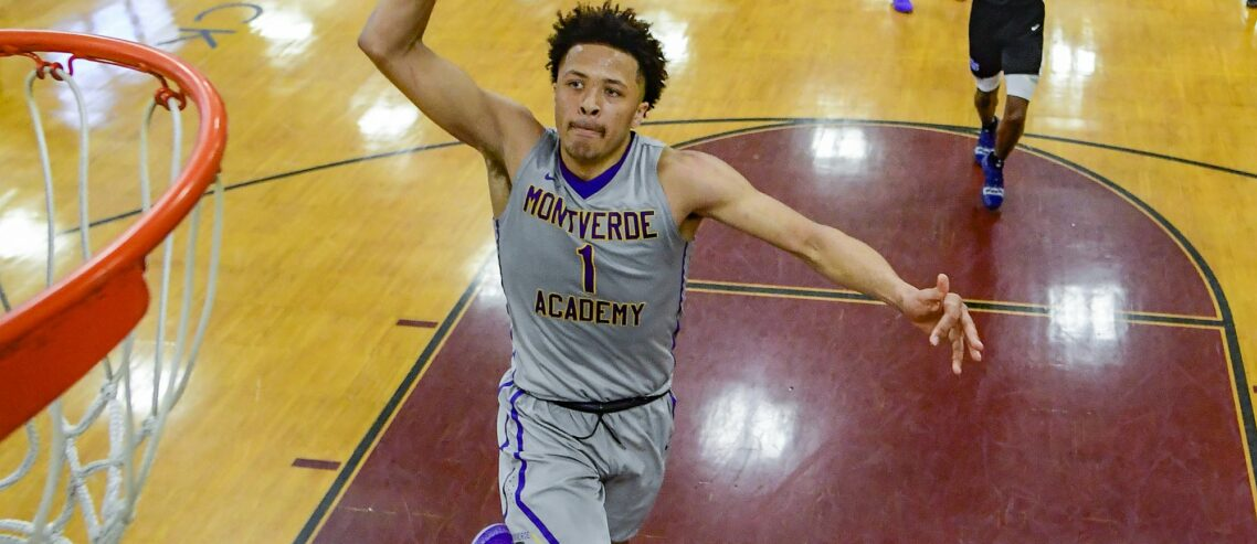 MIDDLE VILLAGE, NEW YORK - APRIL 04: Cade Cunningham #1 of Montverde Academy dunks the ball against NSU University School in the quarterfinal of the GEICO High School National Tournament at Christ the King High School on April 04, 2019 in Middle Village, New York. (Photo by Steven Ryan/Getty Images)