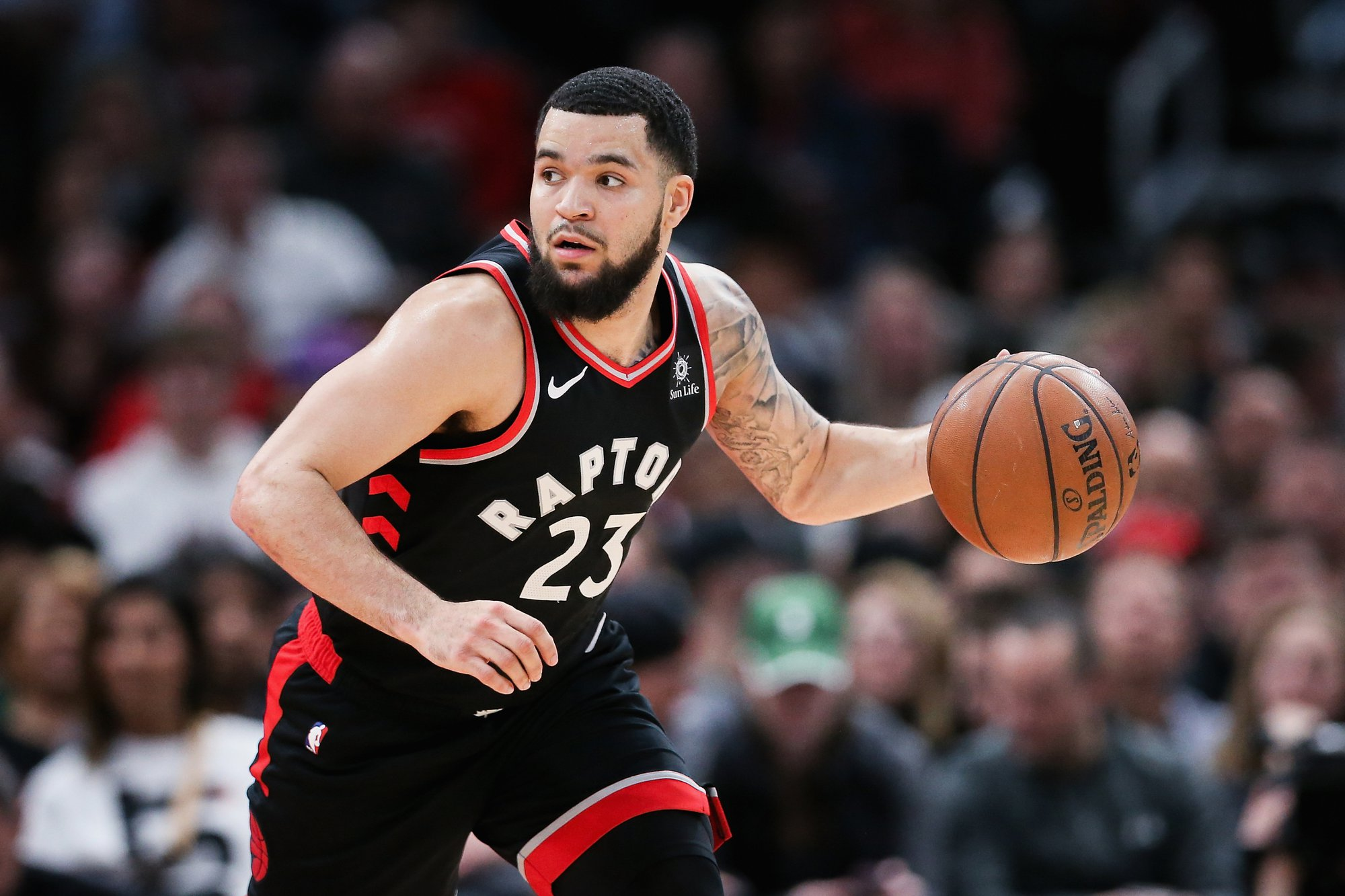 CHICAGO, ILLINOIS - MARCH 30:  Fred VanVleet #23 of the Toronto Raptors dribbles the ball in the second quarter against the Chicago Bulls at the United Center on March 30, 2019 in Chicago, Illinois. NOTE TO USER: User expressly acknowledges and agrees that, by downloading and or using this photograph, User is consenting to the terms and conditions of the Getty Images License Agreement. (Photo by Dylan Buell/Getty Images)