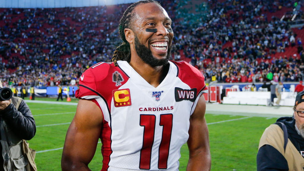 LOS ANGELES, CA - DECEMBER 29: Arizona Cardinals wide receiver Larry Fitzgerald (11) after an NFL game between the Arizona Cardinals and the Los Angeles Rams on December 29, 2019, at the Los Angeles Memorial Coliseum in Los Angeles, CA. (Photo by Jordon Kelly/Icon Sportswire via Getty Images)
