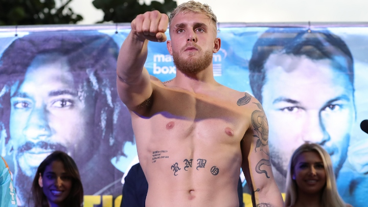 January 29, 2020; Miami, FL, USA; Jake Paul steps on the scale to weigh in for his Matchroom Boxing USA bout at The Meridian at Island Gardens in Miami, FL.  Mandatory Credit: Ed Mulholland/Matchroom Boxing USA